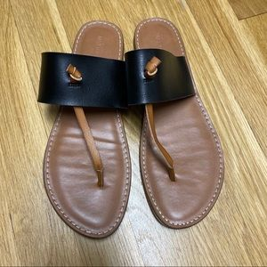 Merona Fauz Leather Sandal in Black and Cognac 8.5